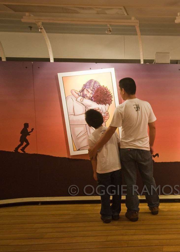 Logos Hope - Father and Son at the Journey of Life Exhibit