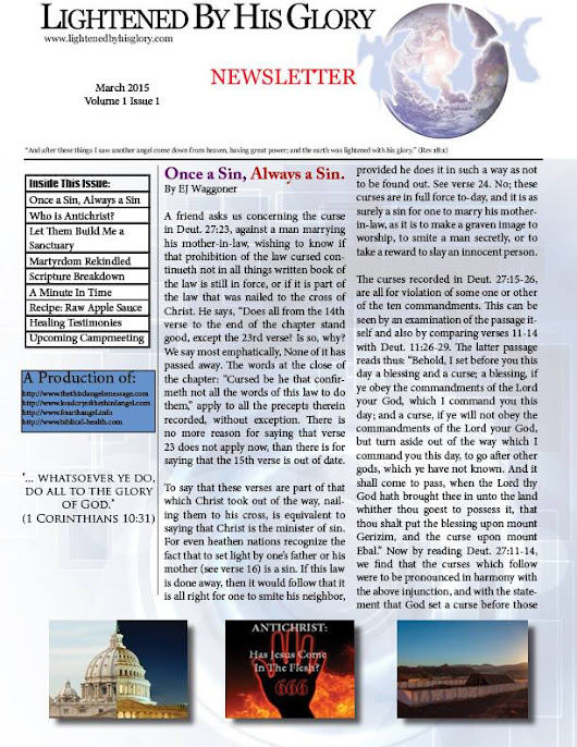 Lightened by His Glory - Monthly Newsletter Launch - March 2015 - Loud Cry of the Third Angel