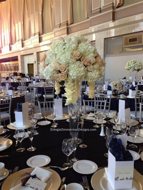I used 3 different styles of centerpieces for this white