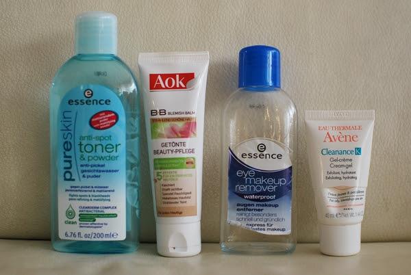 essence pure skin anti-spot toner & powder |  essence eye makeup remover waterproof |  Aok B.B. Blemish Balm |  Avène Cleanance K