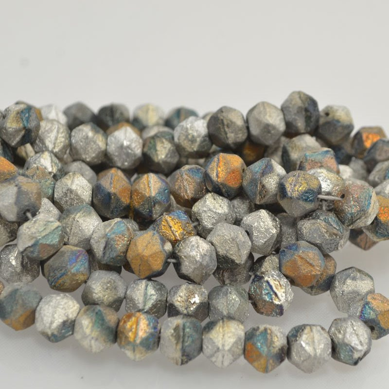 s43597 Glass Beads - 10 mm Antique English Cut - Etched Fire Stone (25)
