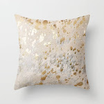 """Gold Hide Print Metallic Couch Throw Pillow by Koovox - Cover (16"""" x 16"""") with pillow insert - Outdoor Pillow"""