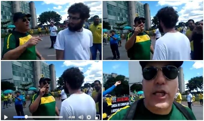 manifestantes cospe fascista protesto dilma