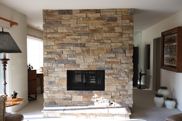 Ledge Stone Dry Stack Stone Fireplaces - traditional - living room ...