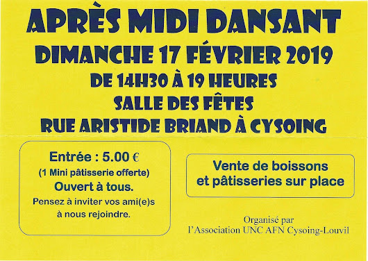 Association U.N.C section Cysoing / Louvil organise son Après-midi dansant le 17 février 2019 - Mairie de Louvil