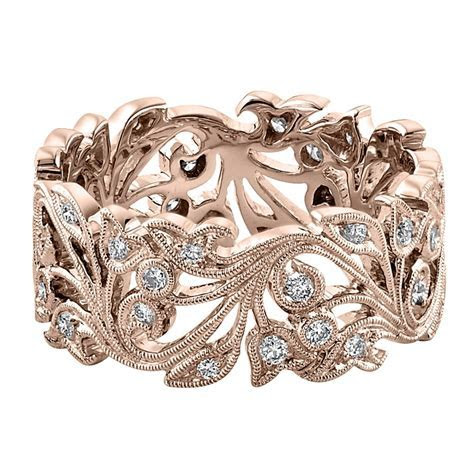Womens 18ct Rose Gold Wide Floral Wedding Ring