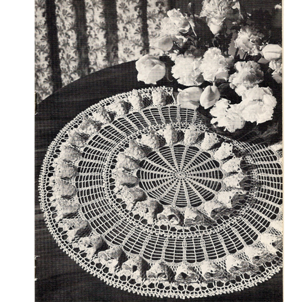 Fluted Fan Vintage Doily Crochet Pattern No A-394