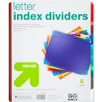 8ct Plastic Letter Index Dividers - Up&Up