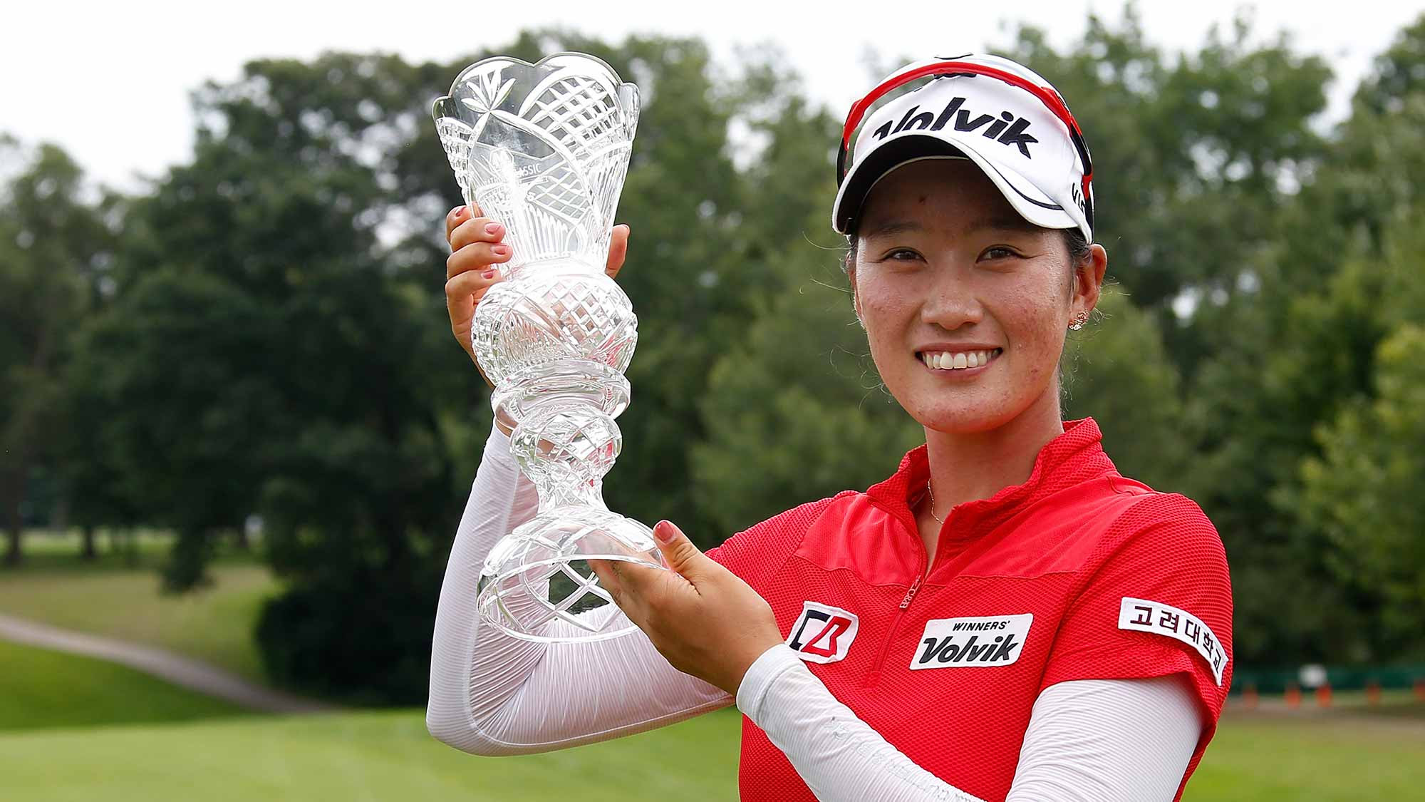 Defending champion Chella Choi with the Maration trophy
