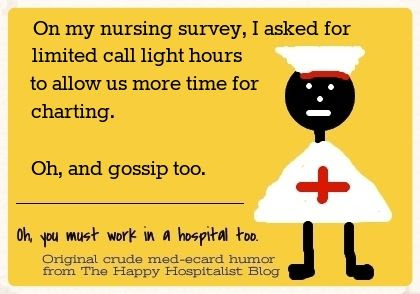 On my nursing survey, I asked for limited call light hours to allow us more time for charting.  Oh, and gossip too nurse ecard humor photo.