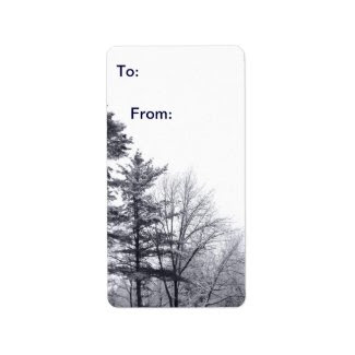 Snow-covered Trees: Vertical gift tag