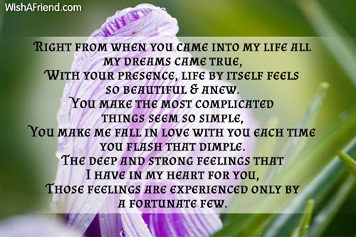 Right From When You Came Into My Life Love Poem