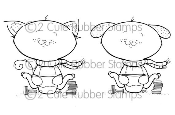 Cookies and Milk Cat and Dog Digital Stamps