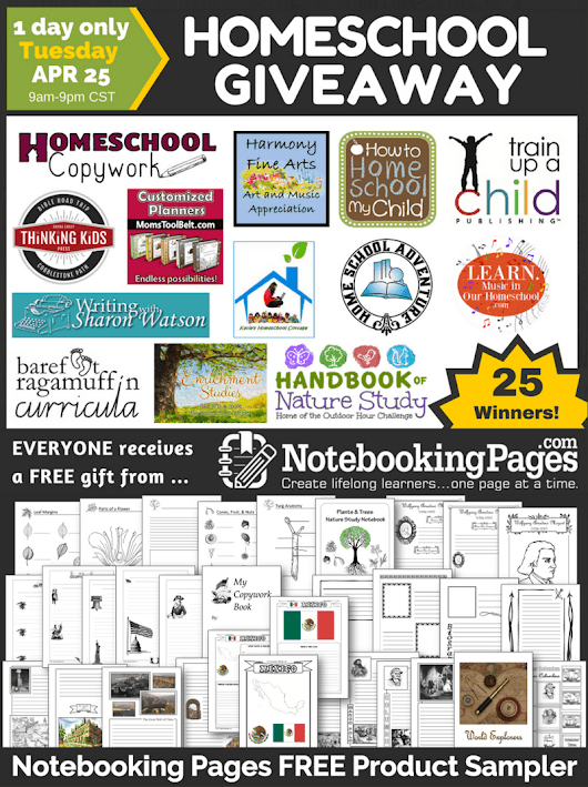Homeschool Sponsor Giveaway | NotebookingPages.com