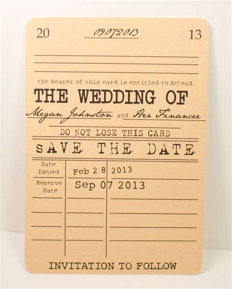 Vintage Library SAVE THE DATE Card   Literary Theme
