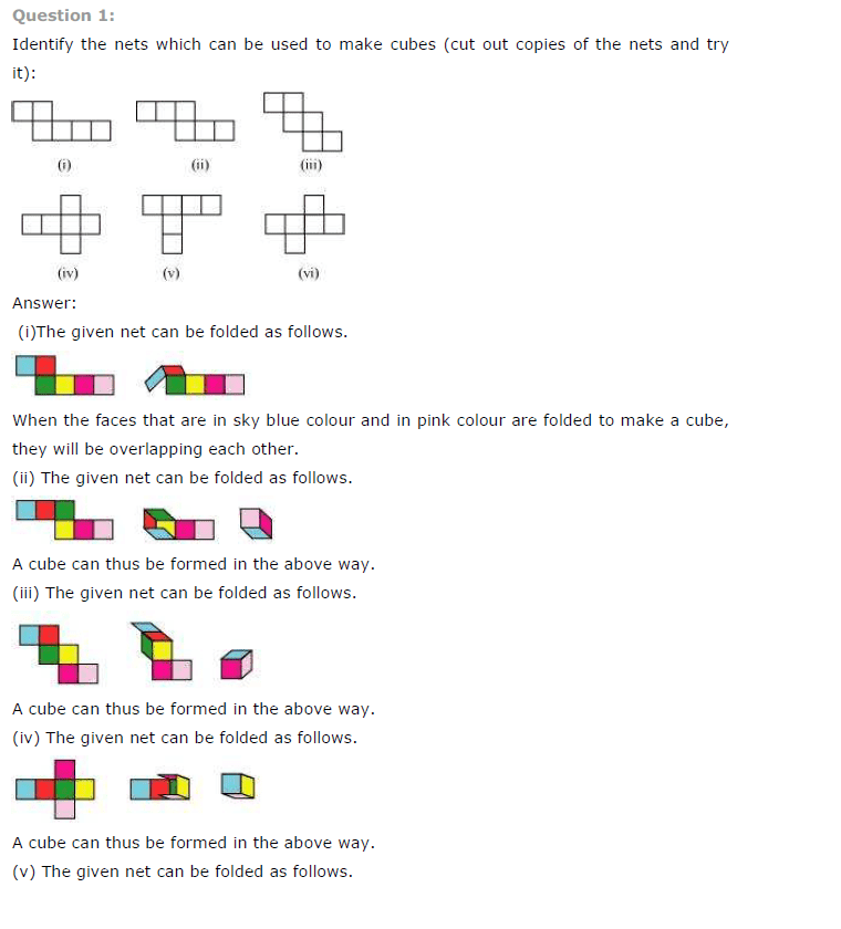CBSE NCERT Class VII (7th) | Mathematics, Visualising Solid Shapes, CBSE NCERT Solved Question Answer, CBSE NCERT Book Solutions for Class 7.