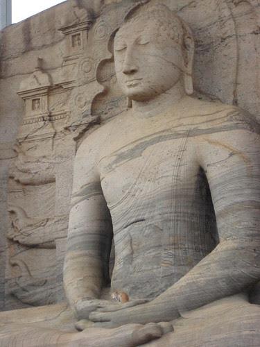Gal Vihara - seated buddha #1 with cat