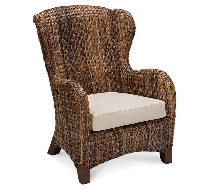 Seagrass Wingback Armchair, Havana Dark