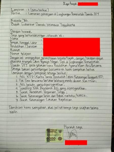 Tulis Tangan Cpns Contoh Surat Lamaran Kerja