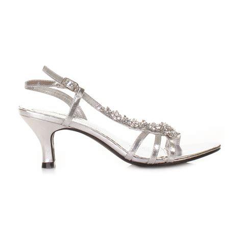 womens  heel silver flower diamante slingback prom