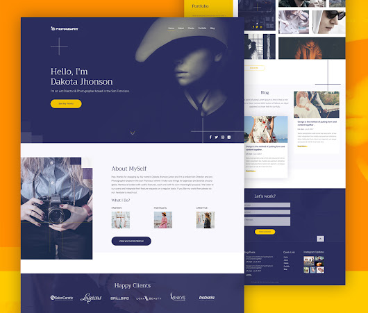 Photography Website Template Free PSD Download - Download PSD