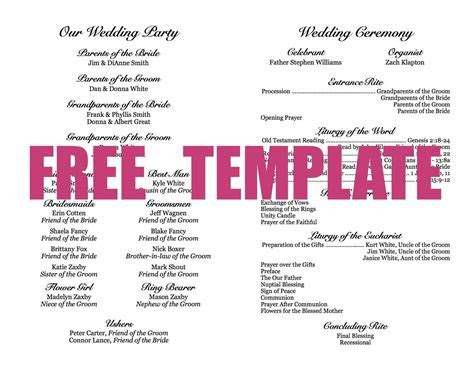 Wedding Program Template   Crafts   Diy wedding program