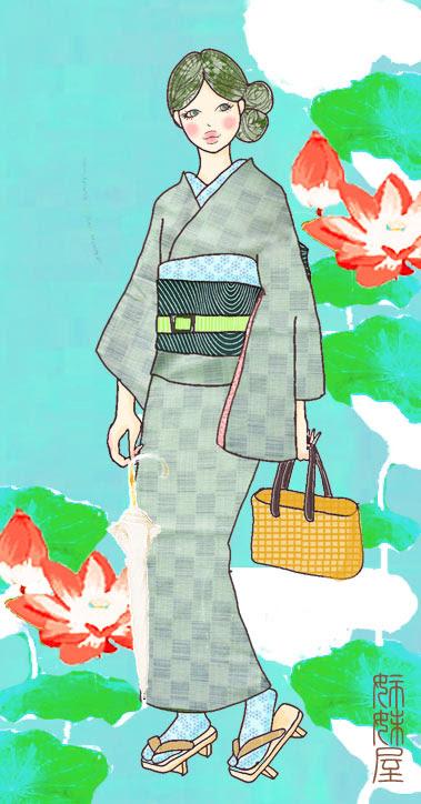 イラストとお着物見比べ爽やか水浅葱色の市松模様の単着物に深い緑に