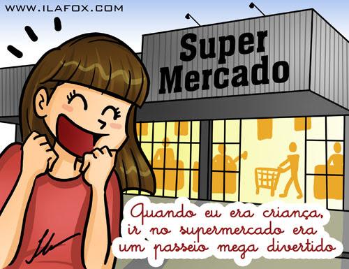 recordar é viver, quando eu era criança, ir ao supermercado era um passeio mega divertido, ilustração by ila fox