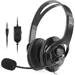 Insten Wired Gaming Headset Earphones with Mic Microphone Stereo Bass for Sony PS4 PlayStation 4 Gamers, Black