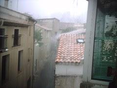 road up in rain