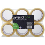 "Universal Heavy-Duty Box Sealing Tape 48mm x 50m 3"" Core Clear 6/Pack 93000"
