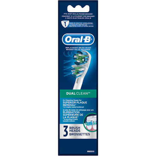 Dual Action Oral-B Dual Clean Replacement Electric Toothbrush Replacement Brush Heads, 3 Count