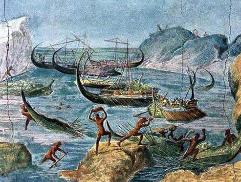 Lestrigones apedreando los barcos de Ulises