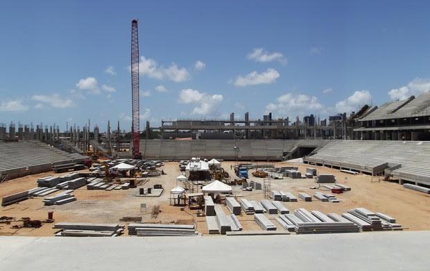 Arena das Dunas, em Natal, ultrapassa 57% de conclusão da obra (Foto: Jocaff Souza)