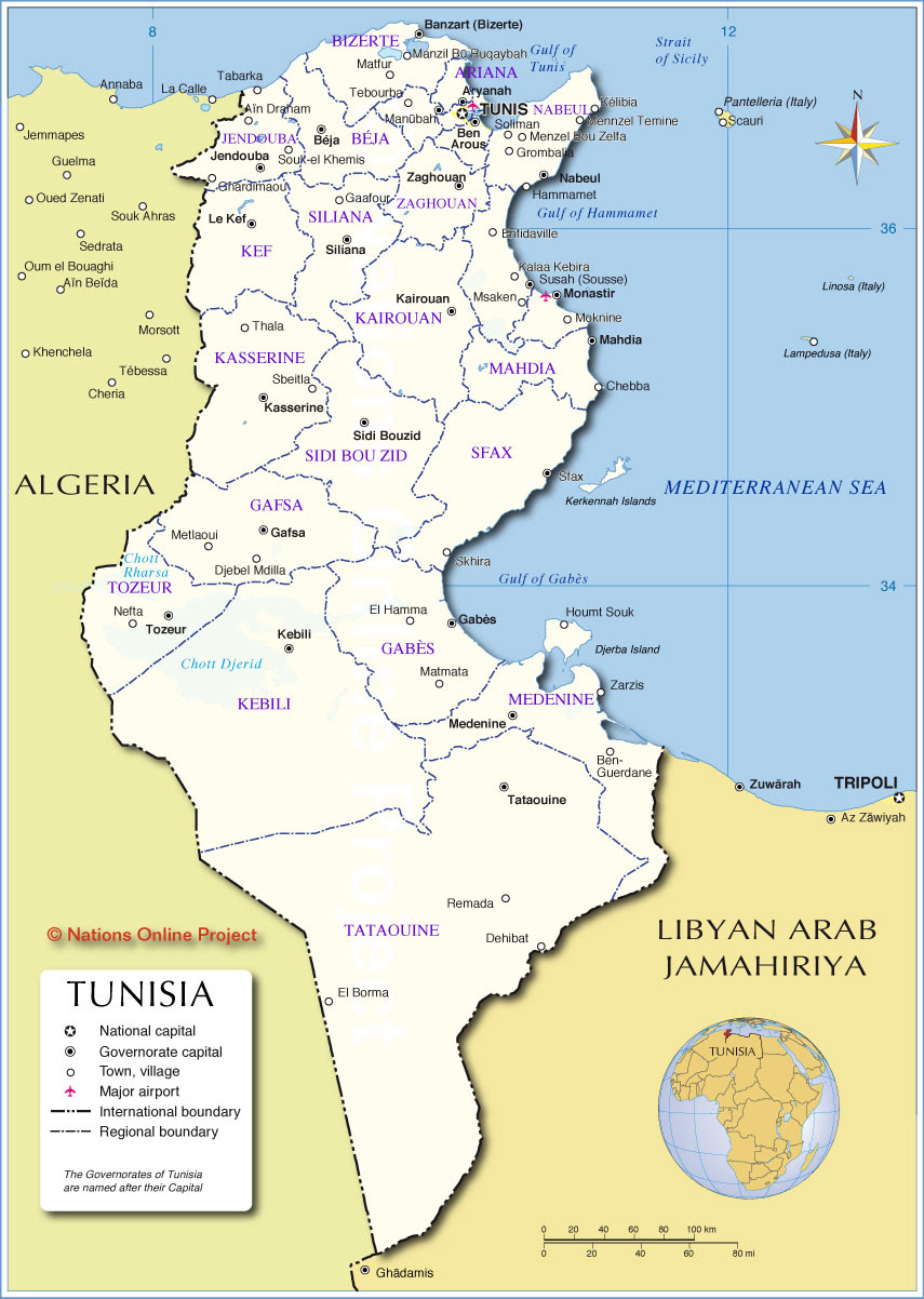 Administrative Map Of Tunisia Nations Online Project