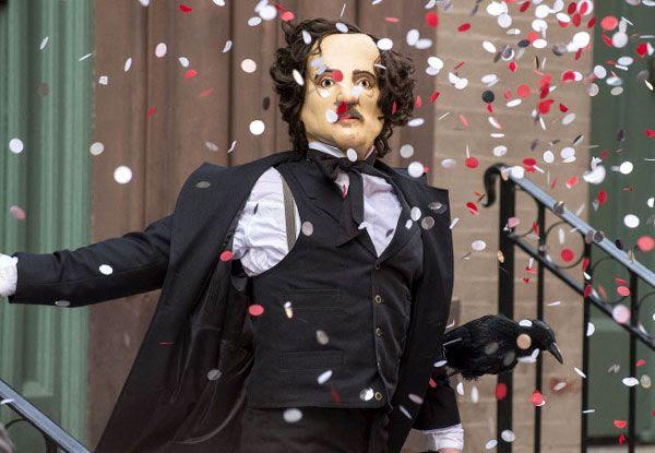Wearing an Edgar Allan Poe mask, a cult follower puts on a show before wreaking murderous havoc in THE FOLLOWING.