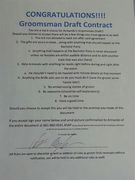 Groomsmen Contract   WEDDING IDEAS   Pinterest   Groomsmen
