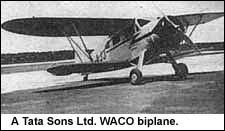 a Tata Sons Ltd. WACO biplane