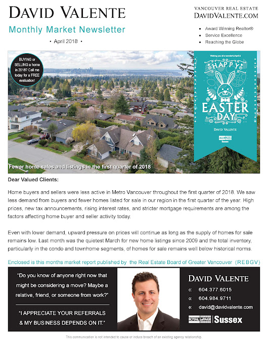 Blog: April Market Newsletter: Fewer home sales and listings in the first quarter of 2018, David Valente Royal Lepage Sussex Realtor North Vancouver, West Vancouver, Downtown Vancouver, BC, Canada