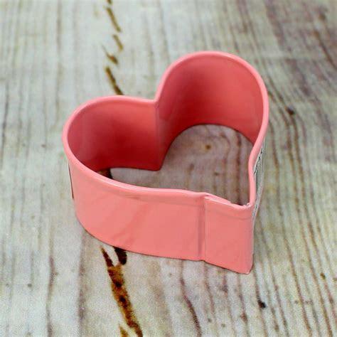 Mini Heart Cookie Cutter in Pink Metal