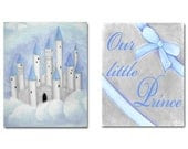 Blue Grey Nursery, Little Prince, Baby Boy Nursery Decor, Kids Decor, Nursery Wall Art,  Set of 2 Prints,  Prince Castle Wall Art - handpainting