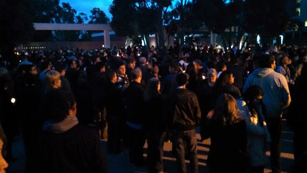 At CSULB, around 2,000 people attend a candlelight vigil for Nohemi Gonzalez on November 15, 2015.