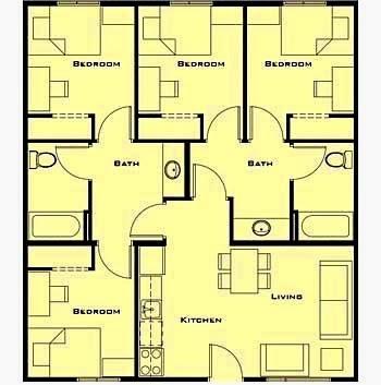 new gambar desain rumah 1 lantai 4 kamar tidur