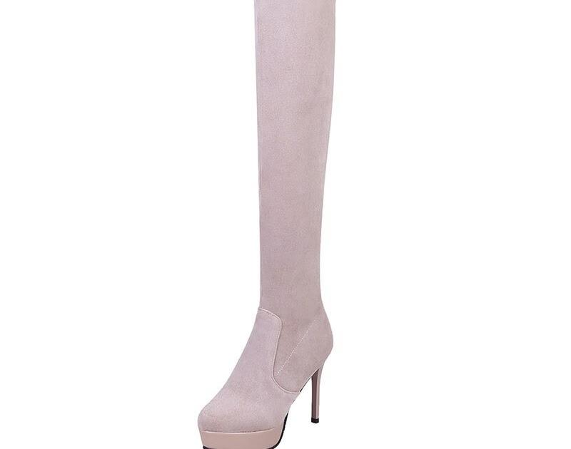 f8f5467e Lasyarrow sobre la rodilla alta Botas Stretch Suede Botas Mujer tacones  altos Stilettos bombas plataforma Botas largas Sexy muslo arranque - Botas  Sexy ...