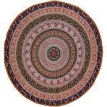"Indian Mandala Print Round Cotton Tablecloth 80"" Blue"