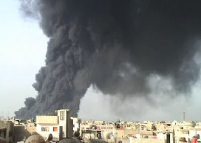 Das Bombardemant Homs, Frühjahr 2012 (via Bambuser)