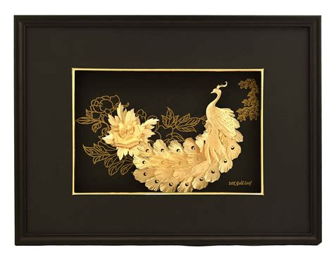 gold foil  peacocks frame