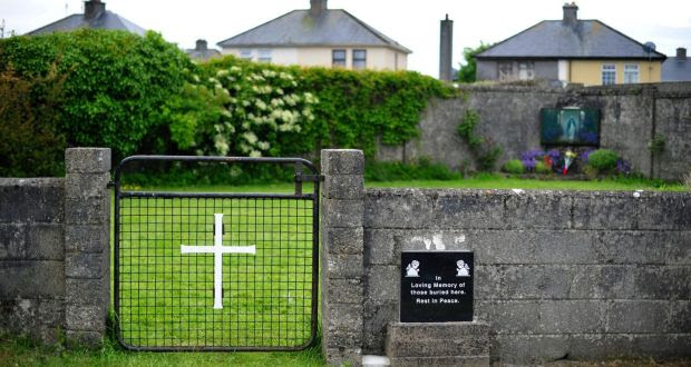The site where the remains of children were found at the Tuam mother and baby home. Photograph: Aidan Crawley/EPA