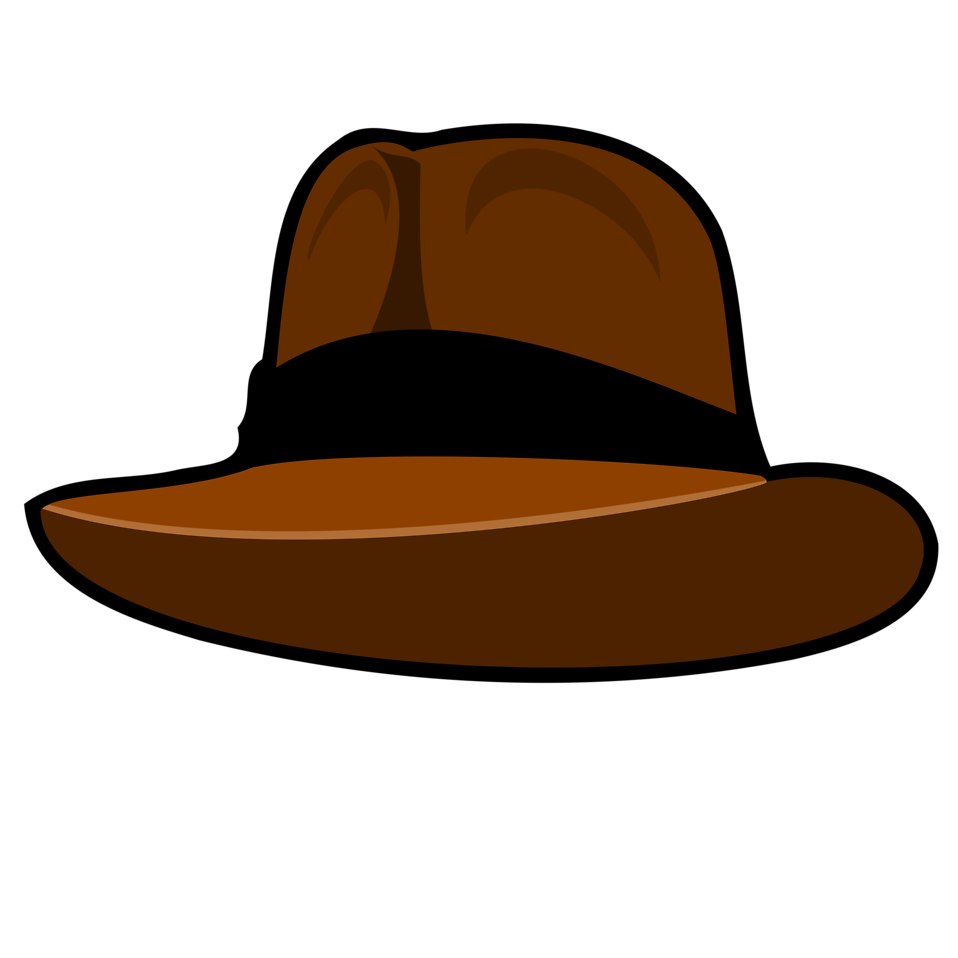 Illustration of a brown cartoon hat with a transparent background.