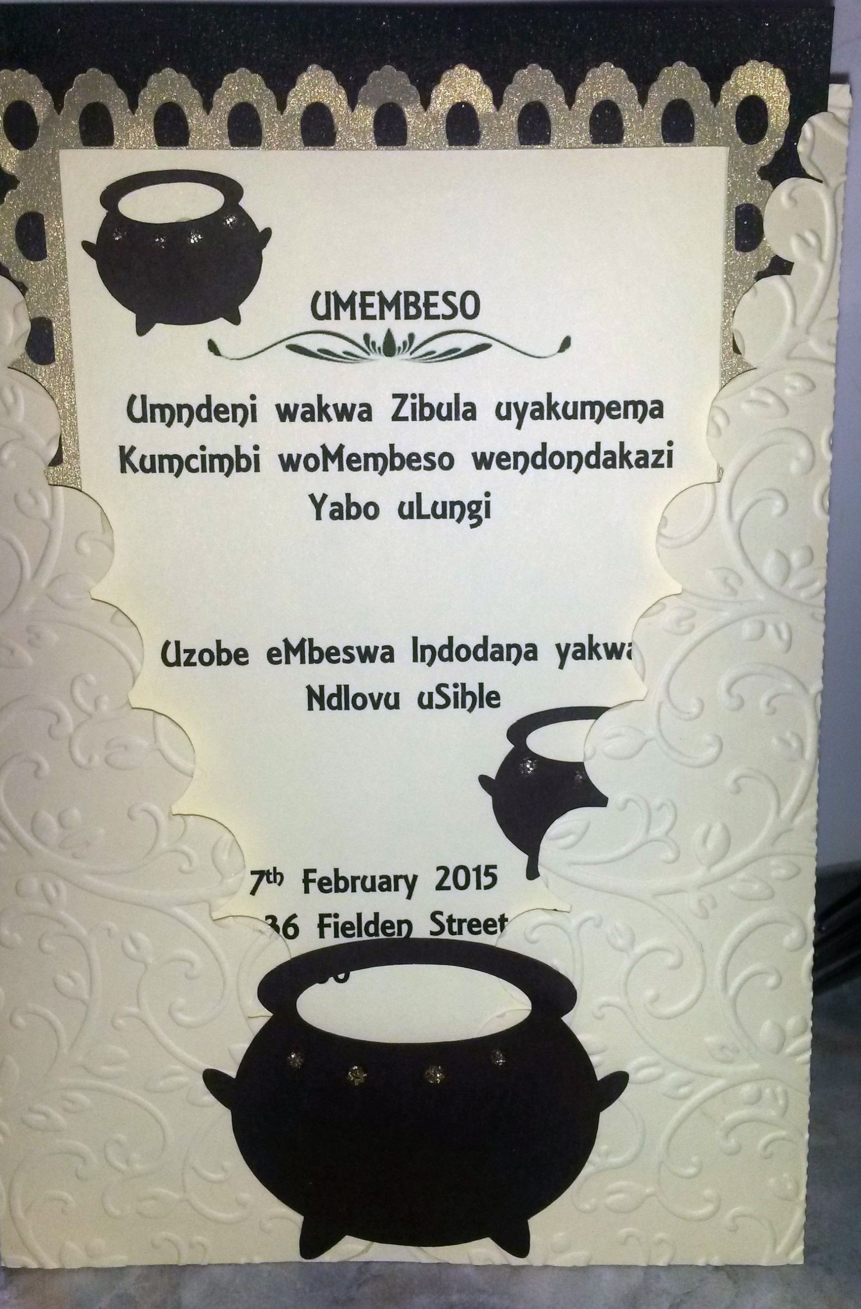 South African Traditional wedding invitation Card, Umembeso Card ...